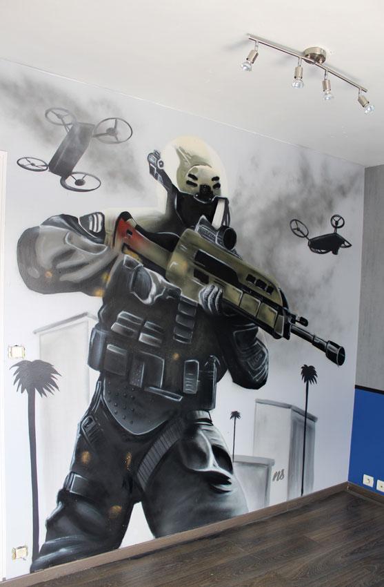 Décoration graffiti à la bombe à Vannes - jeu call of